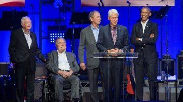 美国五位前总统现身赈灾募款音乐会