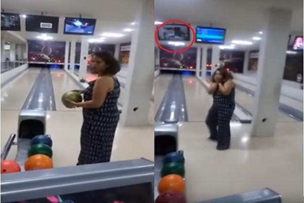 臂力惊人!巴西女子没洗沟竟砸中电视