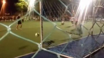 乱入足球赛 腊肠狗竟替守门员挡下罚球