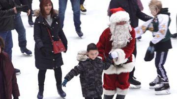 纽约洛克菲勒中心滑冰场 圣诞老人现身同乐