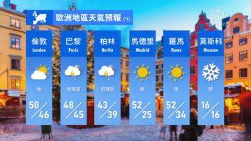 1月12日全球天气预报