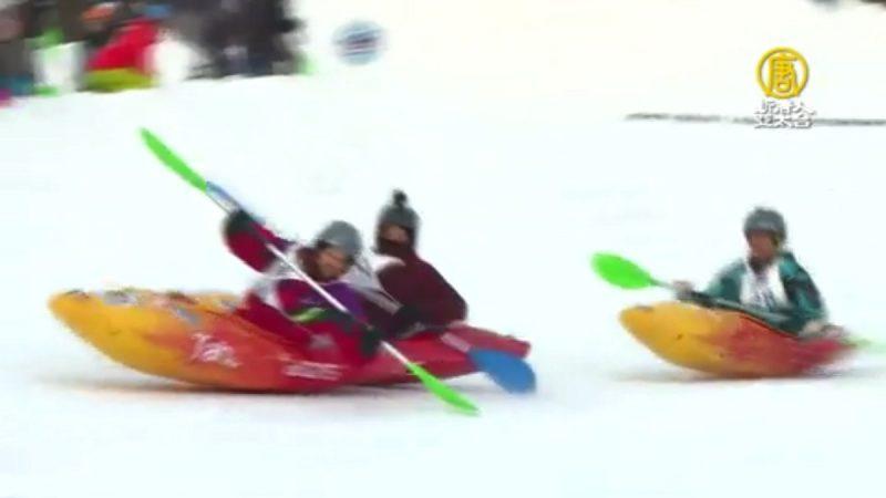 寒冷地区运动 独木舟也能在雪地划